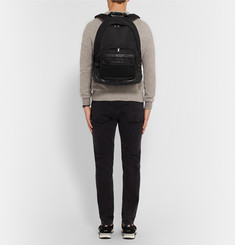 AMI Mesh-Trimmed Canvas and Leather Backpack