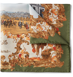 Rubinacci Real Sito Di Capodimonte Printed Silk-Twill Pocket Square