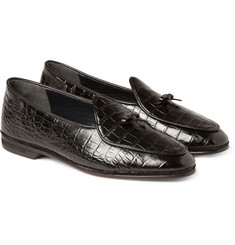 Rubinacci Croc-Embossed Leather Loafers