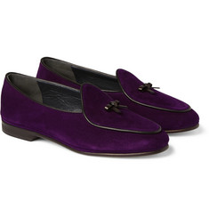 Rubinacci Leather-Trimmed Suede Loafers