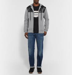 Marc by Marc Jacobs Luke Leather-Panelled Cotton-Blend Jersey Hoodie