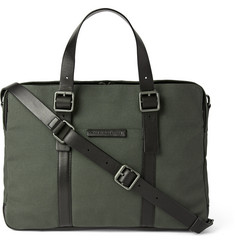 Marc by Marc Jacobs Leather-Trimmed Cotton-Canvas Briefcase