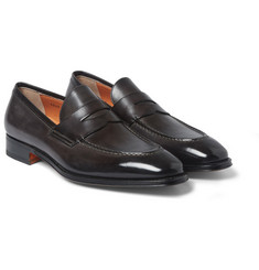 Santoni Leather Penny Loafers