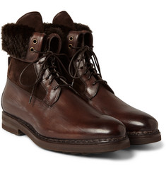 Santoni Shearling-Lined Leather Boots