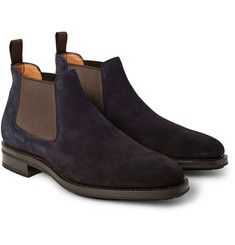 Santoni Burnished-Suede Chelsea Boots