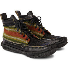 Yuketen Hunt Striped Flannel and Leather Boots