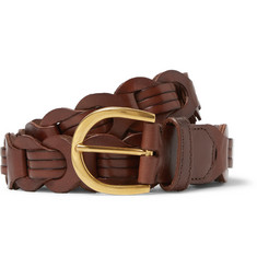 Tom Ford 3cm Brown Woven Polished-Leather Belt