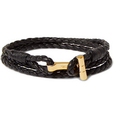 Tom Ford Braided Leather and Gold-Plated Bracelet