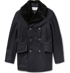 Private White V.C. Manchester Shearling Collar Wool Peacoat