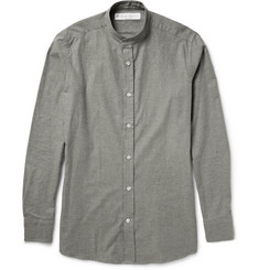 Private White V.C. Grandad-Collar Brushed-Cotton Shirt