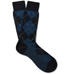 Pantherella Allington Argyle-Patterned Merino Wool-Blend Socks
