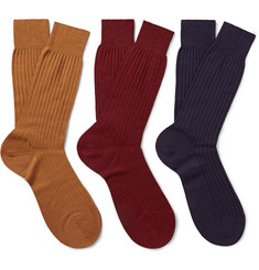 Pantherella Three-Pack Laburnum Ribbed Merino Wool-Blend Socks