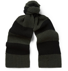 Margaret Howell Striped Ribbed-Knit Wool Scarf