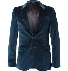 PS by Paul Smith Petrol Grosgrain-Trimmed Velvet Blazer
