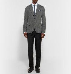 MP Massimo Piombo Grey Slim-Fit Textured Wool-Blend Blazer