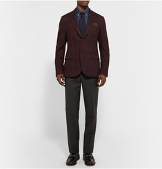 MP Massimo Piombo Burgundy Slim-Fit Checked Fleece-Wool Blazer