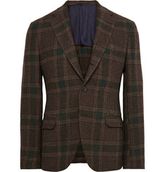 MP Massimo Piombo Brown Slim-Fit Checked Wool-Flannel Blazer