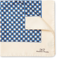 MP Massimo Piombo - Checked Silk-Twill Pocket Square