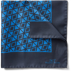 MP Massimo Piombo Geometric-Print Silk-Twill Pocket Square