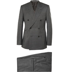 Kingsman Grey Double-Breasted Shadow Checked Super 150 Wool Suit