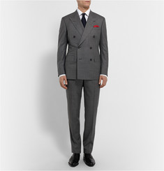 Kingsman Grey Double-Breasted Shadow Check Super 150 Wool Suit