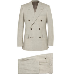 Kingsman Stone Slim-Fit Double-Breasted Wool and Linen-Blend Suit