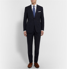 Kingsman Navy Slim-Fit Single-Breasted Pinstriped Wool Suit