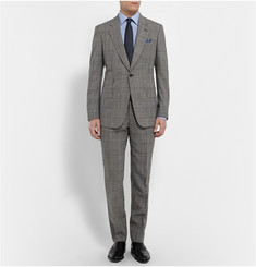 Kingsman Grey Slim-Fit Single-Breasted Prince of Wales Checked Suit