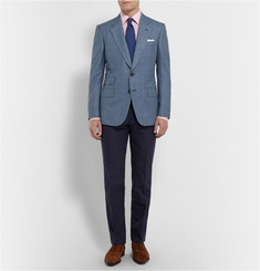 Kingsman Blue Wool and Silk-Blend Puppytooth Blazer