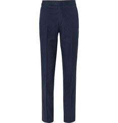Kingsman Navy Slim-Fit Brushed Cotton-Twill Trousers