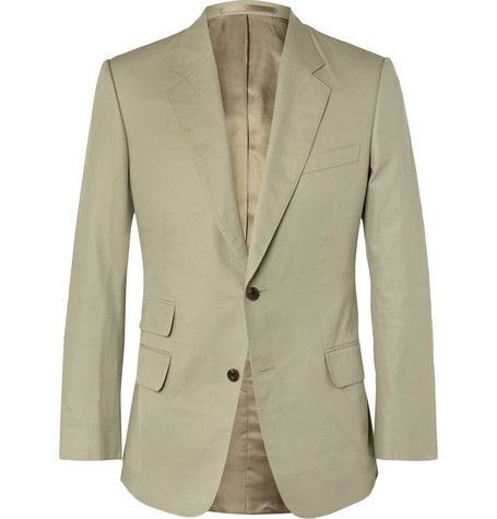 cc51c6973 Kingsman Stone Slim-Fit Brushed Cotton-Twill Suit Jacket In Neutral ...