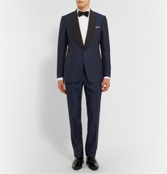 Kingsman Navy Slim-Fit Wool and Mohair-Blend Shawl-Collar Tuxedo Jacket