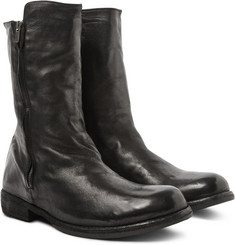 Officine Creative - Ikon Shearling-Lined Washed-Leather Boots
