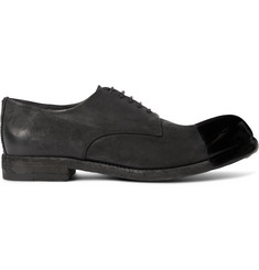 Officine Creative Bubble Dipped Cap-Toe Washed-Nubuck Derby Shoes