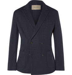 Casely-Hayford Navy Koston Double-Breasted Wool-Blend Blazer