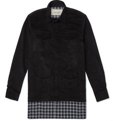 Casely-Hayford Stanley Plaid-Panelled Corduroy Shirt