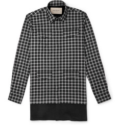 Casely-Hayford Stanley Corduroy-Panelled Plaid Cotton Shirt