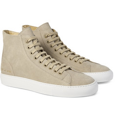 Common Projects Tournament Waxed-Suede High-Top Sneakers
