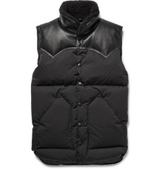 Rocky Mountain Featherbed - Christy Leather and Shearling-Trimmed Shell Down Gilet