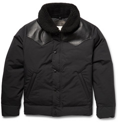 Rocky Mountain Featherbed Christy Leather and Shearling-Trimmed Twill Down Jacket