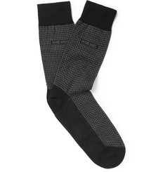 Hugo Boss Houndstooth Cotton, Cashmere and Silk-Blend Socks