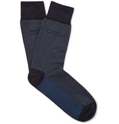 Hugo Boss Fine-Striped Cotton-Blend Socks