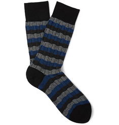 Falke - Striped Basketweave Cotton Socks