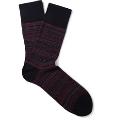 Falke Sensitive-Cuff Striped Wool-Blend Socks