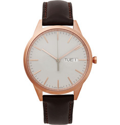 Uniform Wares C40 PVD Rose Gold and Leather Watch