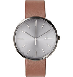 Uniform Wares M40 PVD Grey Stainless Steel and Leather Wristwatch