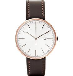 Uniform Wares M40 PVD Rose Gold and Cordovan Leather Wristwatch