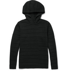 S.N.S. Herning Torque Slim-Fit Panelled Textured-Virgin Wool Hoodie