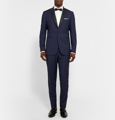 Hardy Amies Navy Slim-Fit Wool and Mohair-Blend Tuxedo Trousers
