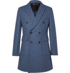 Hardy Amies Double-Breasted Melangé Wool-Blend Overcoat